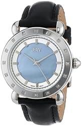 JBW Women's J6265A  16 Diamond Bezel Black Genuine Leather Band Watch