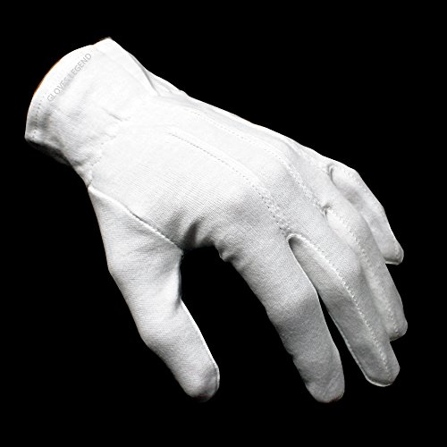 Large White Cotton Gloves (1 Pair (2 gloves) 100% White Cotton Marching Band Parade Formal dress gloves - Size)