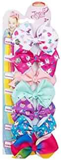 JoJo Siwa Bows 7 days Jojo Bow 8 cm with Unicorn and Rainbow pattern - Beautiful Hair Accessories - Best Xmas Present Stocking Filler for Girls