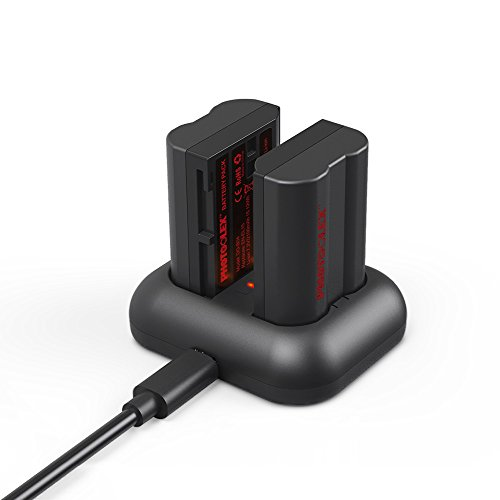 Photoolex 2 Pack 2100 mAh Power Battery and Rapid Dual USB Battery Charger for Nikon EN-EL15 and Nikon 1 V1, D7100, D750, D7000, D7200, D810, D610, D800, D600, D800e, D810a