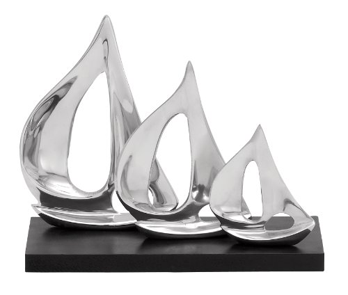 Boat Metal Sculpture (Deco 79 Aluminum Sailboat Decor, 11 by 9-Inch)
