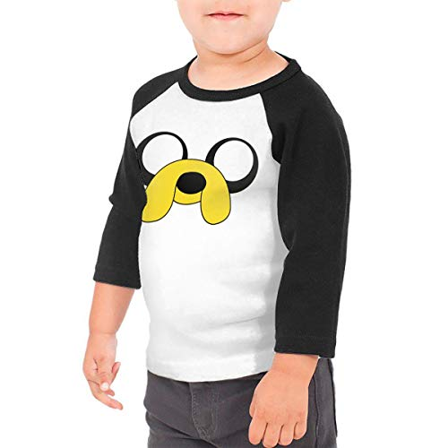 Kid's Adventure Time Jake The Dog Toddlers Jersey 3/4 Sleeve Rags Baseball T Shirt for 2-6T Boys and Girls Black