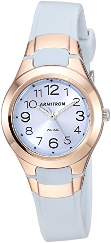 Armitron Sport Women's 25/6418PBL Rose Gold-Tone Accented Easy to Read Powder Blue Resin Strap - Womens Analog Watch Armitron Resin