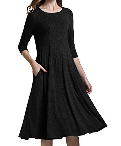 midi 3/4 sleeve dress - 2