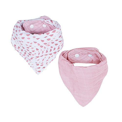 Bebe au Lait Muslin Bandana Bib Set, Rose Quartz and (Petal Bib)