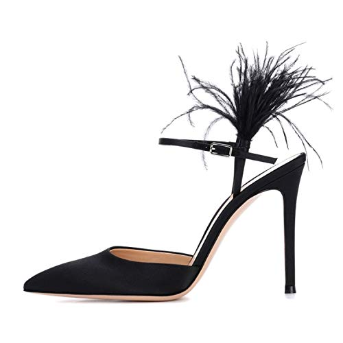 (Yeenvan Women Thin High Heels Black Satin Feather Decor Runway Shoes Women Slingback Pumps New,Black,9 )