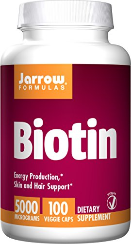 Jarrow Formulas Biotin 5000mcg, Energy Production, Skin and Hair Support, 100 Caps ()