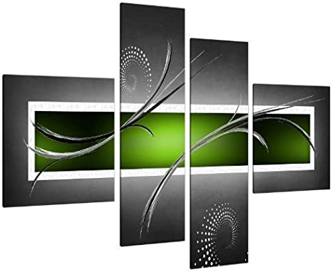 Wallfillers Cuadros en Lienzo Grande Arte Abstracto Grande Verde Lima y Gris Lienzo Pared Imágenes XL Print 4093