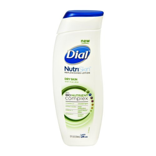 Price comparison product image Dial NutriSkin Dry Skin with True Aloe Replenishing Lotion, 12 FZ (Pack of 3)