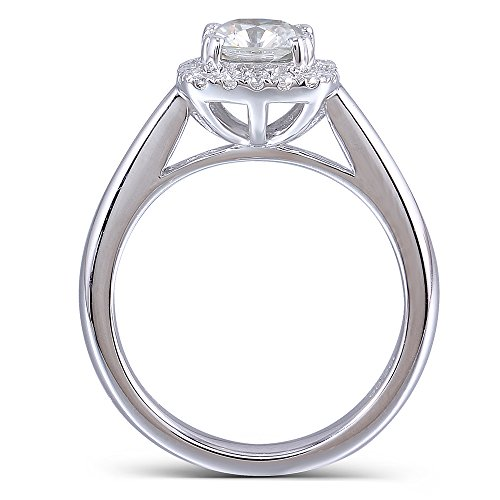 DOVEGGS Platinum Plated Silver Center 1ct 6X6mm Cushion Cut H Near Colorless Moissanite Halo Engagement Ring(5)