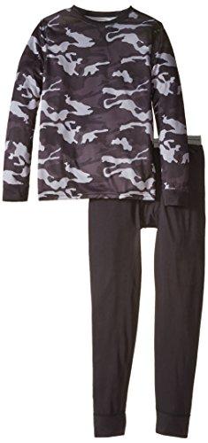 Fruit of the Loom Big Boys' Printed Performance Thermal Underwear Set, Grey Camo, 14/16 ()