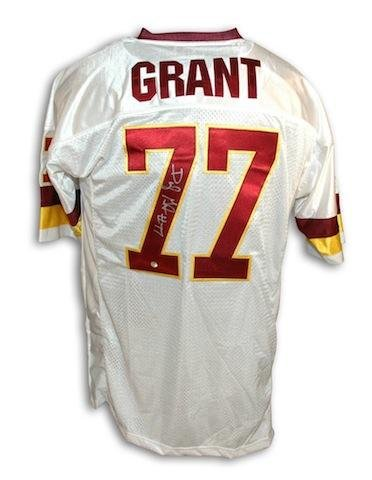 Darryl Grant Washington Redskins White Throwback Jersey Autographed - Autographed NFL Jerseys