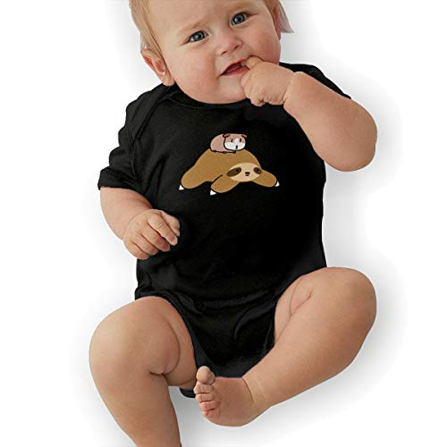 Newborn Baby Short Sleeve Bodysuits Sloth and Guinea Pig Toddler Clothes -