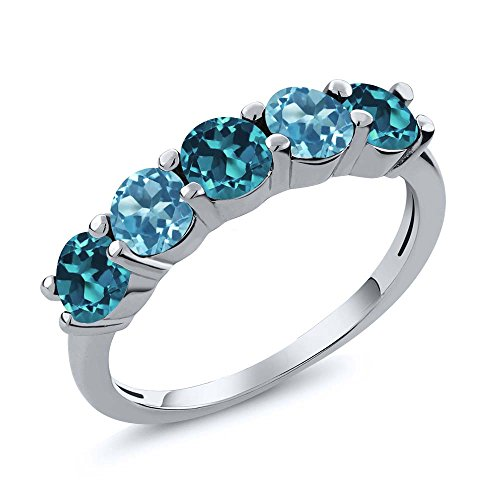 1.00 Ct London Blue and Swiss Blue Topaz 925 Sterling Silver Wedding Band Ring