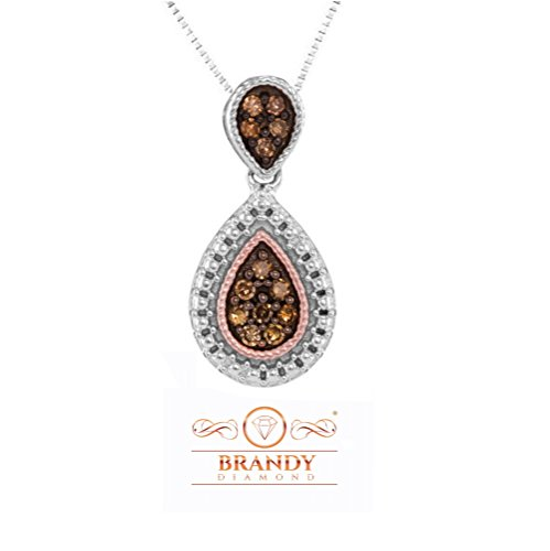Brandy Diamond Chocolate Brown 14K Gold Silver Teardrop Beautiful Necklace Pendant 1/6 Ctw.