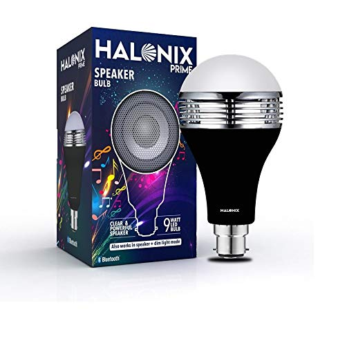 Halonix B22d 9-Watt LED Bluetooth Speaker Bulb (White and Yellow Light), Pack of 1