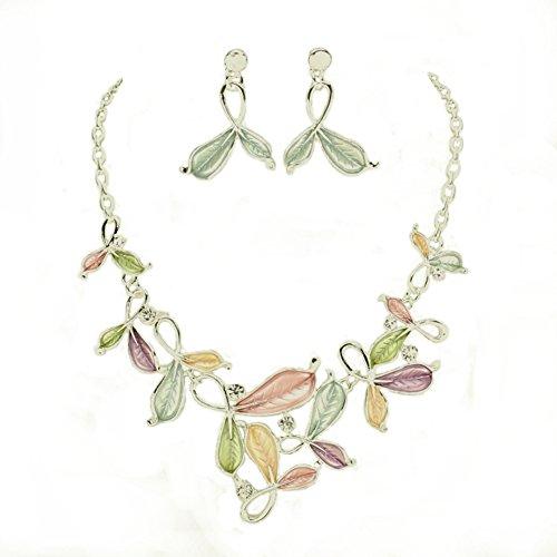 """Frosted Pale Pink Purple Green Peach Enamel Silver-Tone Leaves & Rhinestone Bib Necklace w/ Earrings 16"""" (Pastel Flower Necklace)"""