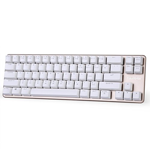 Qisan Mechanical Keyboard Gaming Keyboard Blue Switch 68-Keys Mini Design (60%) Gaming Wired Keyboard White Golden Magicforce
