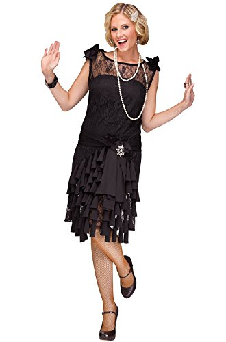 Fun World Women's Flirty Flapper Costume, Black, Large