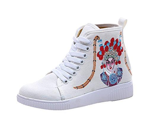 Rubber Opera Peking Embroidery Womens Flats Ankle AvaCostume Shoes White Sneaker I1w7AEqn
