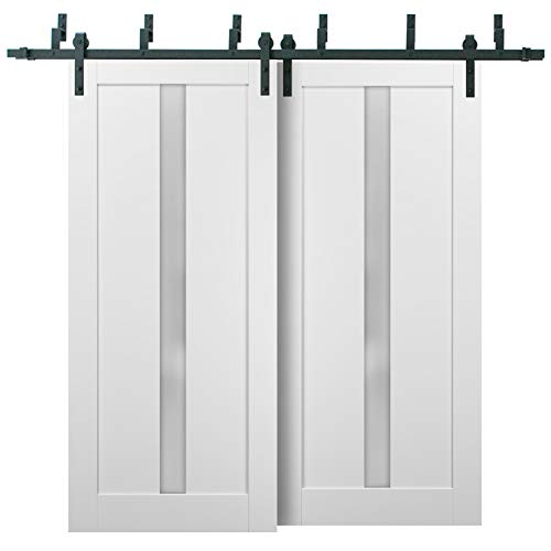 Barn Bypass Doors 64 x 96 with 6.6ft Hardware | Quadro 4112 White Silk with Frosted Opaque Glass | Sturdy Heavy Duty…