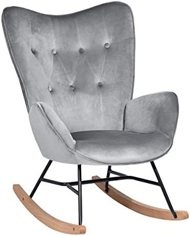 HouseinBox Modern Armchair, Soft Velvet Upholstered Rocking Chair with Solid Wood Legs, Grey