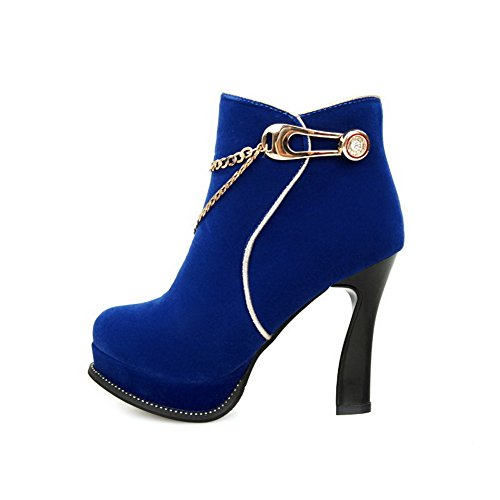 High Toe top Low Frosted Heels Round Boots Solid Allhqfashion Blue Closed Women's awA6CHqax8