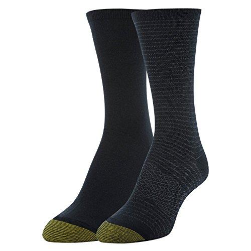 Multi Stripe Toe Socks (Gold Toe Women's Little Stripe and Flat Knit Crew Socks, 2 Pairs, Black, Shoe Size: 6-9)