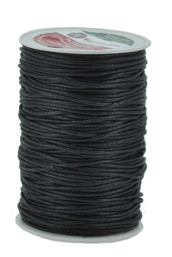 Mandala Crafts 2mm 109 Yards Jewelry Making Beading Crafting Macramé Waxed Cotton Cord Rope (Black) by Mandala Crafts