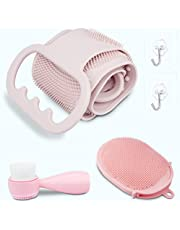 Silicone Back Scrubber for Shower Set, 2020 Updated Silicone Bath Body Brush Set, Handle Body Washer, Easy to Clean Washer, Exfoliating More Hygienic (Pink)