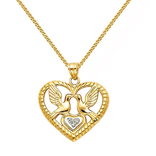White Dove Necklace (14K Two-tone Gold Open Heart with White Doves Pendant with 1.5-mm Flat Wheat Chain)