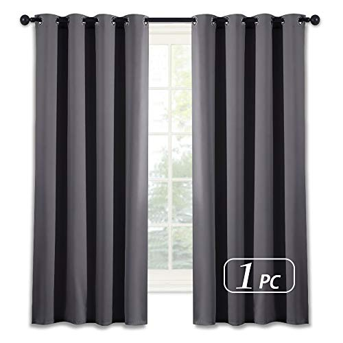NICETOWN Blackout Window Curtain for Bedroom - (Grey Color) Home Decoration Thermal Insulated Room Darkening Drape/Drapery, W52 x L63 Inch, 8 Grommets/Rings Top, 1 Panel (Window Drapes)