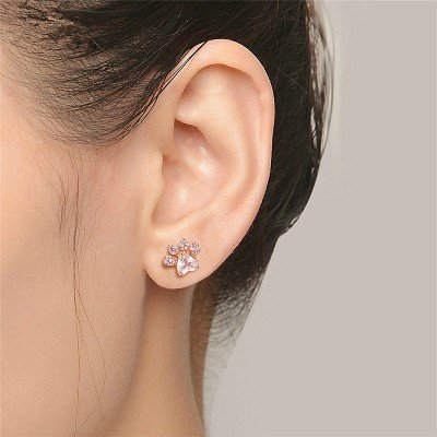 (TKHNE Footprints rose quartz fashion zircon rose gold plated earrings earrings earrings selling in Europe and America)