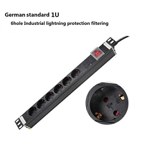 Jammas PDU 1U 6 EU Plug Outlets 16A 250V energra power socket Industrial lightning protection filtering enchufe adaptador socket - (Standard: 5M, Color: German standard) (Pdu Core)