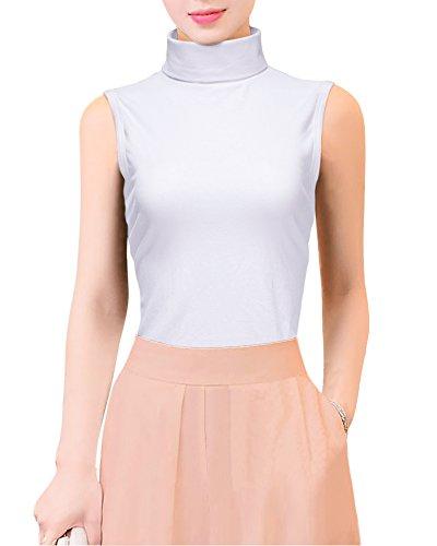 Gootuch Womens Cotton Sleeveless Fashionable Elastic Pure Color Turtleneck Shirts