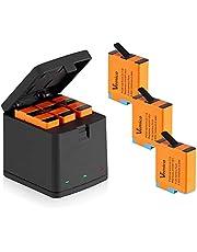Vemico vervangende acculader 3 * 1500 mAh batterijset voor Gopro Hero 8/Hero 7/Hero 6/Hero 5 oplaadbare batterijen en 3 kanaals laadbox type C USB-batterijpack met een beschermdeksel