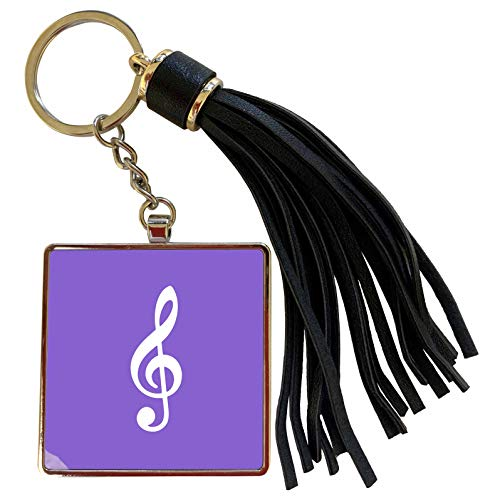3dRose InspirationzStore Music Art Designs - Purple Treble Clef Music Notation G clef musical note musician gift - Tassel Key Chain (tkc_232115_1) (Oasis A Great Big World Piano Sheet Music)