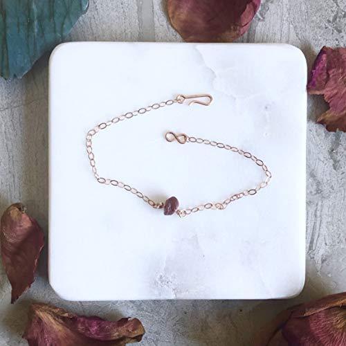 Raw Bracelet - Ruby Rose Gold Filled (Large)
