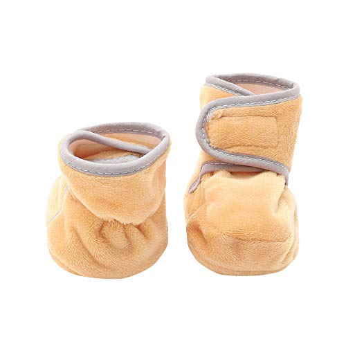 Hopscotch Kid-O-Nation Boys and Girls Cotton Hosiery Cloth Plain Booties with Piping in Brown Color