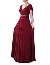 DianSheng Women's Cap Sleeve V-neck Ruched Empire Line Mother of the Bride Dresses