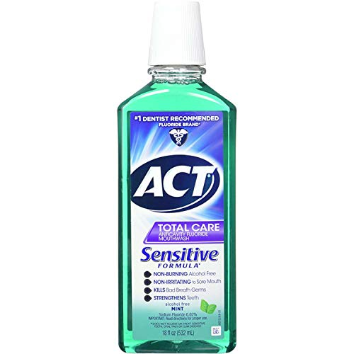 ACT Total Care Anticavity Fluoride Mouthwash, Sensitive Formula Mint, 18 Fluid Ounce (Anticavity Care Mouthwash Fluoride)