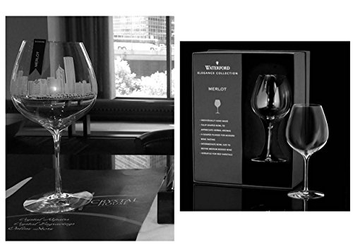 Chicago Skyline engraved on Waterford Elegance Collection Merlot wine glasses (Pair) (Wine Glass Skyline)