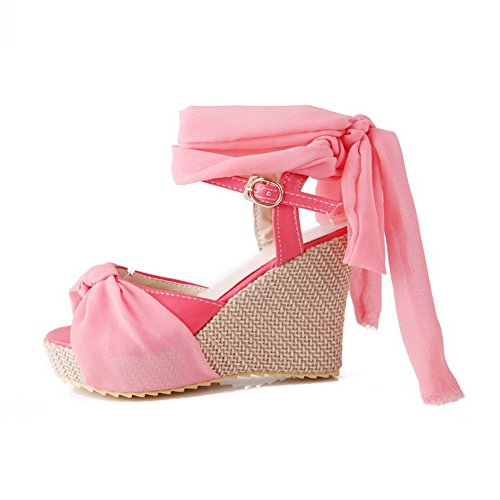 Open Womens Solid Toe Heels PU Pink High AalarDom Sandals Buckle TxqEwBppa