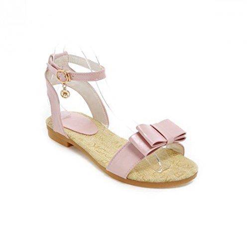AIKAKA Zapatos de Mujer Spring Summer Student Tendon Flat Heel Sandals Pink
