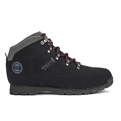 a88199dd784 Henleys New Mens Gents Black Lace Ups Mid Cuts Walking Boots with Logo -  Black