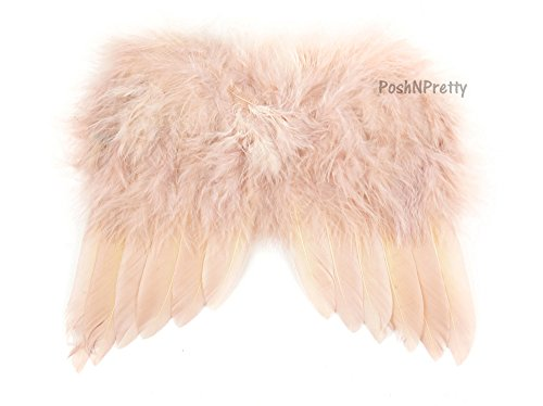 [Natural Feather Angel Butterfly Wings, Newborn, Baby, Photo prop- Color: Blush] (Newborn Angel Wings)