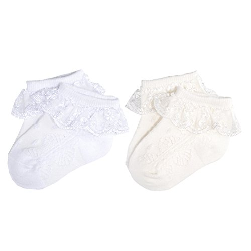 Epeius 2 Pair Pack Newborn Baby-Girls Eyelet Frilly Lace Socks Princess Ankle Socks White/Off White 12-24 Months,Shoe Size -