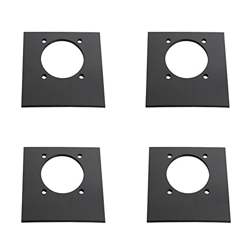 DC Cargo Mall 4-Pack Black Trailer Mounting Backplates for D Ring Tie-Down Square Recessed Pan Fitting Bolt-on Installation
