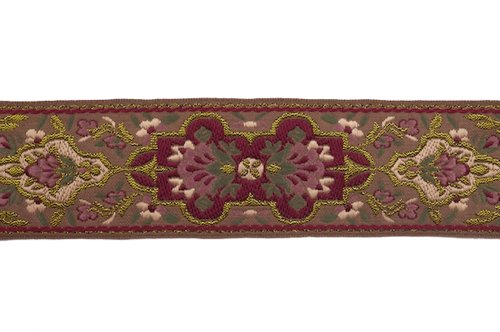 - Dove of the East Paris Vintage Josephine Shimmering Brocade Ribbon for Scrapbooking, 1-Yard, Gold/Dark Red/Green/Brown