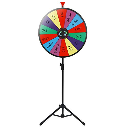 24'' Prize Wheel Metal Tripod Adjustable Floor Stand Editable Reusable Dry Erase Color Portable 14 Slot Perfect For Trade-shows Promotion Activities Carnivals Annual Meetings Holiday Activities Parties by Auténtico (Image #6)